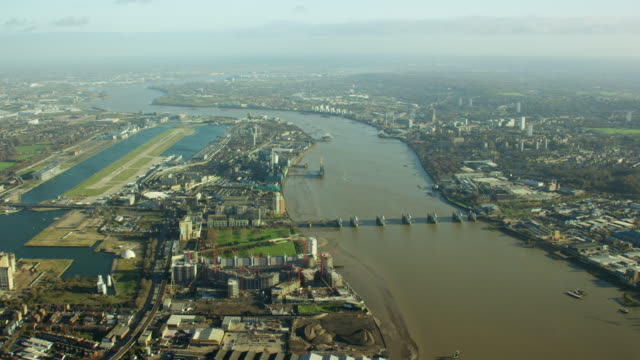 Aerial view of the River Thames London UK