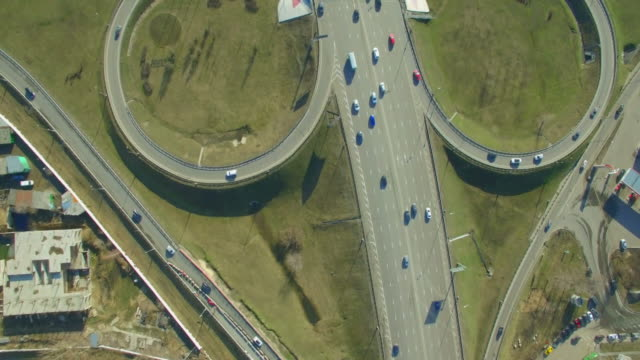 russia. moscow - 2016: 4k v aerial view of the road junction. - moscow russia stock videos and b-roll footage