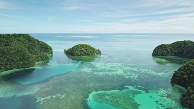 vidéos et rushes de ws aerial view of the rock islands / koror, palau - océan pacifique sud