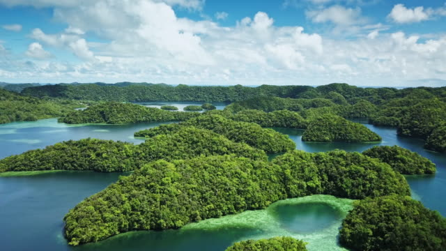 ws aerial view of the rock islands / koror, palau - pazifikinseln stock-videos und b-roll-filmmaterial