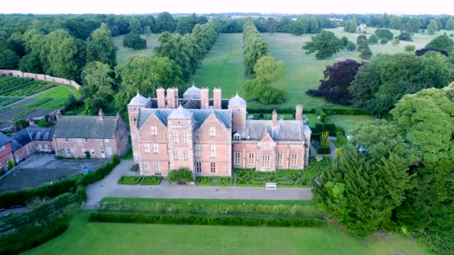 aerial view of the roof of kiplin hall - 17th century stock videos & royalty-free footage