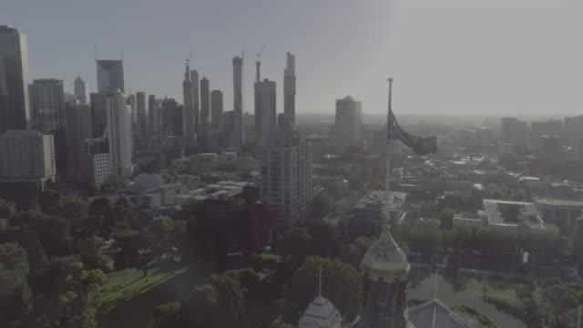aerial view of the royal exhibition building, melbourne victoria australia - exhibition stock videos & royalty-free footage