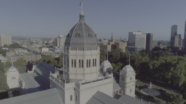 aerial view of the royal exhibition building, melbourne victoria australia - australian politics stock videos & royalty-free footage