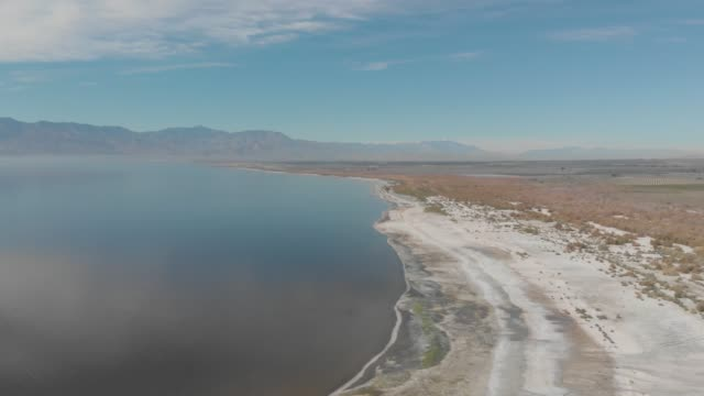 aerial view of the salton sea a shallow saline endorheic rift lake located directly on the san andreas fault in california united states of america - san andreas fault stock videos & royalty-free footage