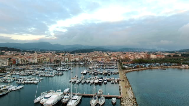 stockvideo's en b-roll-footage met aerial view of the sanary harbour, var, provence, france - var