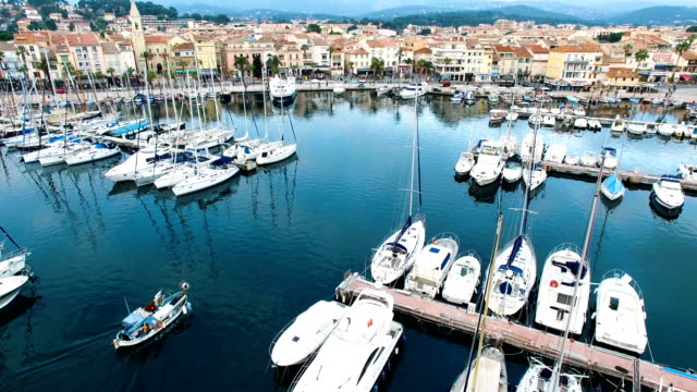 vidéos et rushes de aerial view of the sanary harbour, var, provence, france - var