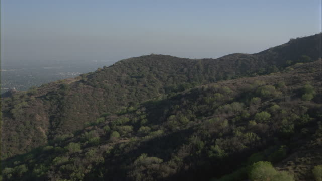 Aerial view of the Santa Monica Mountain and the houses of San Fernando Valley.