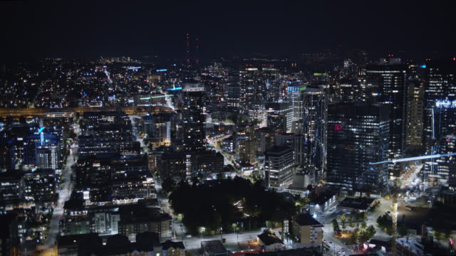 aerial view of the seattle skyline at night - seattle stock videos & royalty-free footage