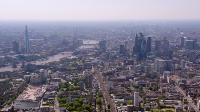 Aerial View of The Shard and Tower Bridge, London, UK. 4K