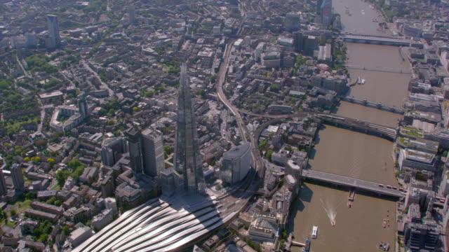 aerial view of the shard, london bridge, uk. 4k - shard london bridge stock videos & royalty-free footage