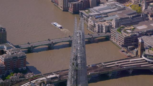 aerial view of the shard, london, uk. 4k - shard london bridge stock videos & royalty-free footage