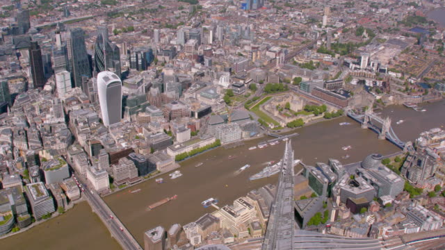 Aerial View of The Shard, The City and Canary Wharf, London, UK. 4K