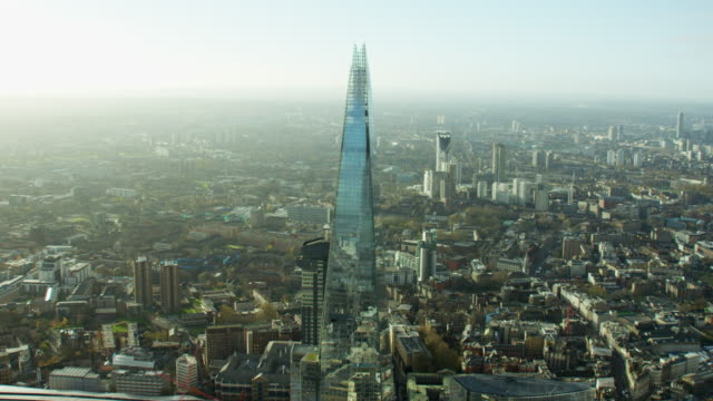 aerial view of the shard tower london cityscape - finance stock videos & royalty-free footage