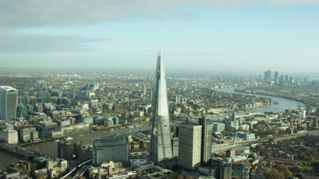 aerial view of the shard tower london cityscape - day stock videos & royalty-free footage