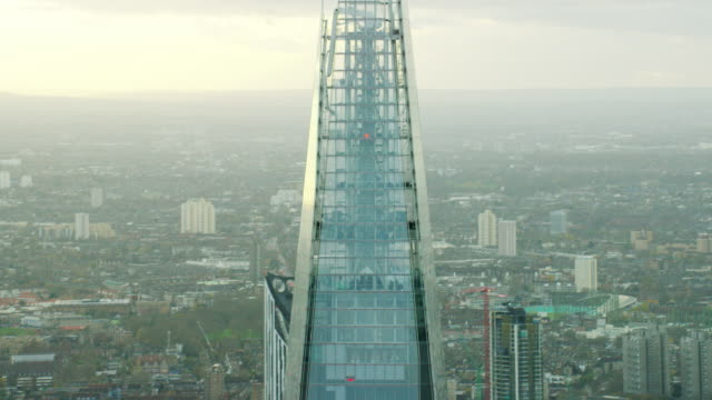 aerial view of the shard tower london cityscape - shard london bridge stock videos & royalty-free footage