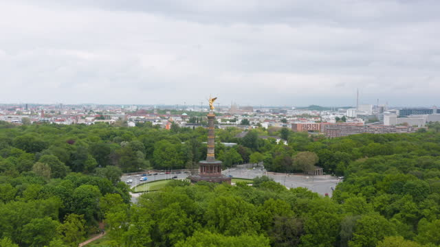 aerial view of the siegessäule on may 18, 2021 in berlin, germany. the victory column is a monument designed by heinrich strack to commemorate the... - 50 seconds or greater stock videos & royalty-free footage