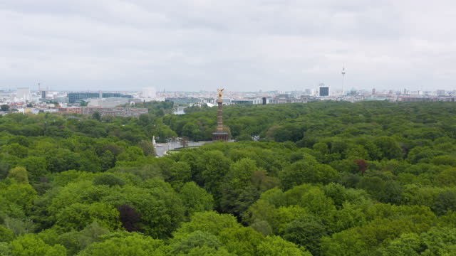 aerial view of the siegessäule on may 18, 2021 in berlin, germany. the victory column is a monument designed by heinrich strack to commemorate the... - 10 seconds or greater stock videos & royalty-free footage