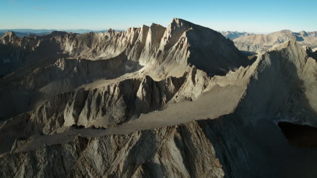 aerial view of the sierra crest with mount whitney. - basin and range province stock videos and b-roll footage
