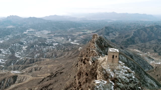 Aerial view of the Simatai Great Wall on February 23 2017 in Beijing China