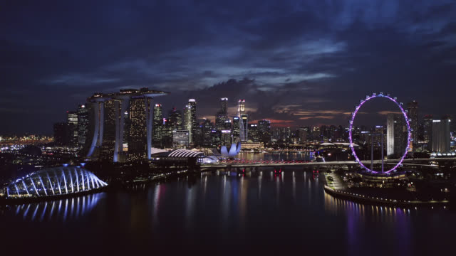 aerial view of the singapore landmark financial business district at twilight sunset - panoramic stock videos & royalty-free footage
