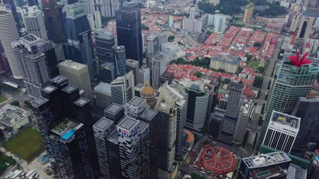 aerial view of the singapore landmark financial business district - singapore stock videos & royalty-free footage