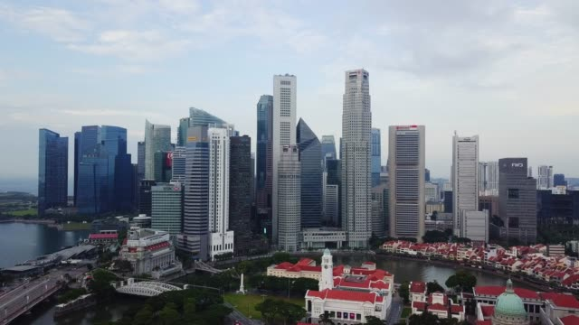 aerial view of the singapore landmark financial business district - dome stock videos & royalty-free footage
