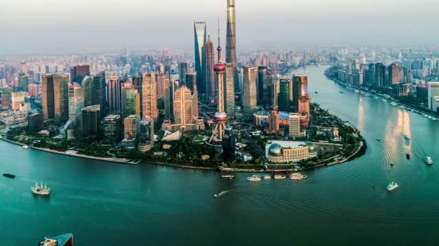 aerial view of the skyline and downtown of shanghai, china - the bund stock videos & royalty-free footage