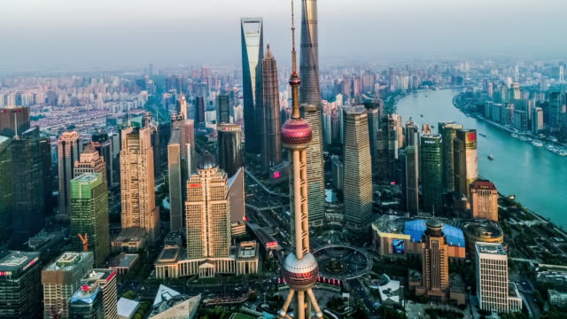 aerial view of the skyline and downtown of shanghai, china - skyline stock videos & royalty-free footage