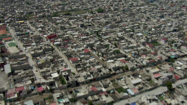 Aerial view of the slums of Chimalhuacan, Mexico.