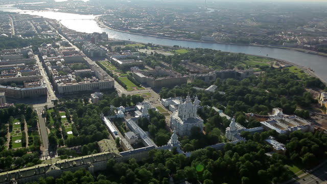 Aerial view of the Smolny Convent / Russia, Saint Petersburg