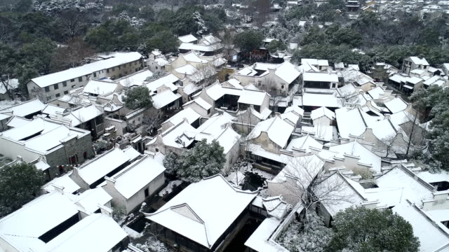 aerial view of the snow scene in huishan ancient town - longitude stock videos & royalty-free footage