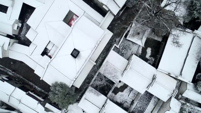 aerial view of the snow scene in huishan ancient town - jiangsu province stock videos & royalty-free footage