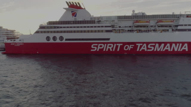 Aerial view of the Spirit of Tasmania. Melbourne Australia
