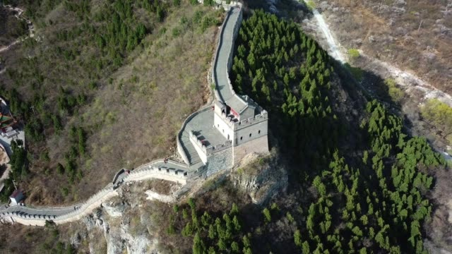 aerial view of the splendid landscape of juyongguan great wall, beijing, china - ming stock videos & royalty-free footage