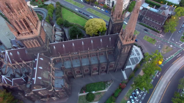 aerial view of the st patrick's cathedral melbourne - spire stock videos & royalty-free footage