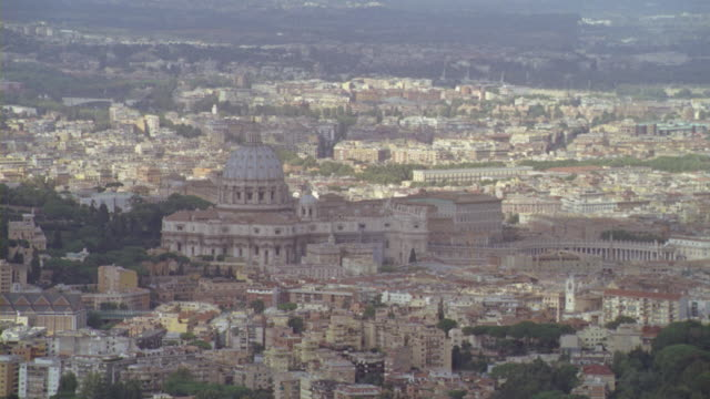 Aerial view of the St Peters Basilica in Vatican City.