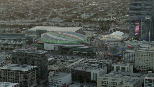 aerial view of the staples center in los angeles, california, at twilight. - staples center stock videos and b-roll footage
