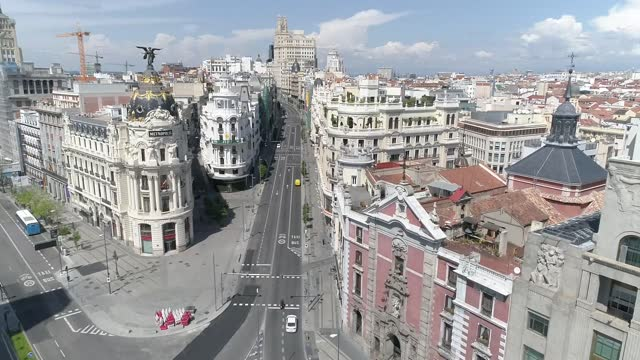 aerial view of the streets of madrid on april 16th 2020 in madrid, spain. madrid's streets are empty due to lockdown restrictions imposed to curb the... - state of emergency stock videos & royalty-free footage
