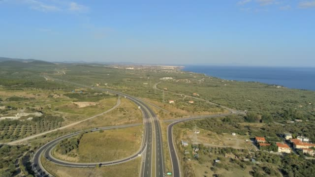 Aerial view of the suburbs, the highway and the coastline of the city of Alexandroupolis, the northern Greek city of Thrace at summer
