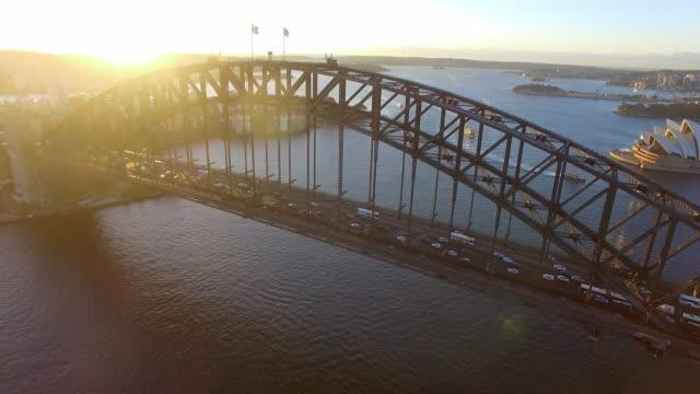 Aerial view of the Sydney Harbour Bridge at sunrise