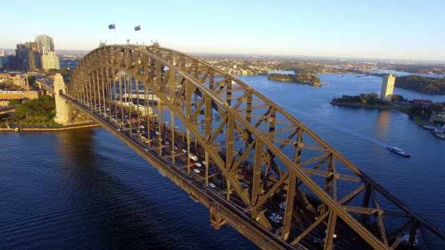Aerial view of the Sydney Harbour Bridge at sunrise