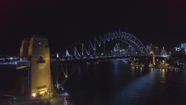 aerial view of the sydney harbour bridge at twilight - david ewing 個影片檔及 b 捲影像