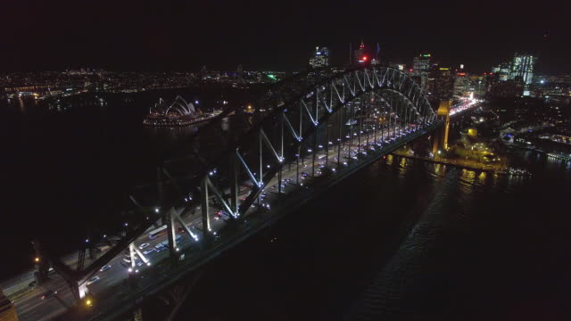 aerial view of the sydney harbour bridge at twilight - david ewing stock videos & royalty-free footage