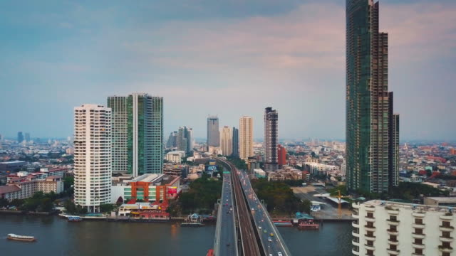 aerial view of the taksin bridge,bangkok - aircraft point of view stock videos & royalty-free footage