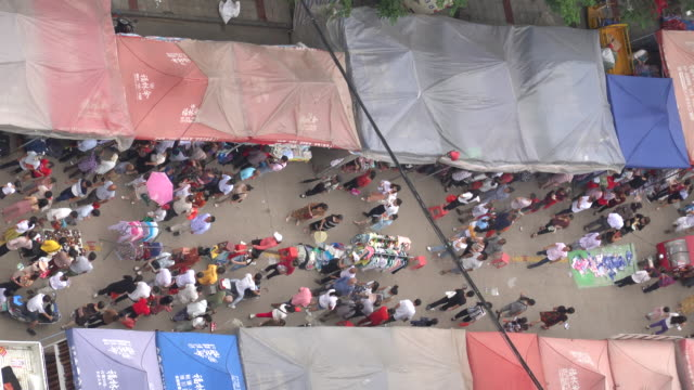 aerial view of the temple fair market - temple street market stock videos and b-roll footage