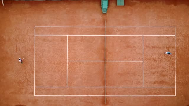 aerial view of the tennis court and park - court stock videos & royalty-free footage