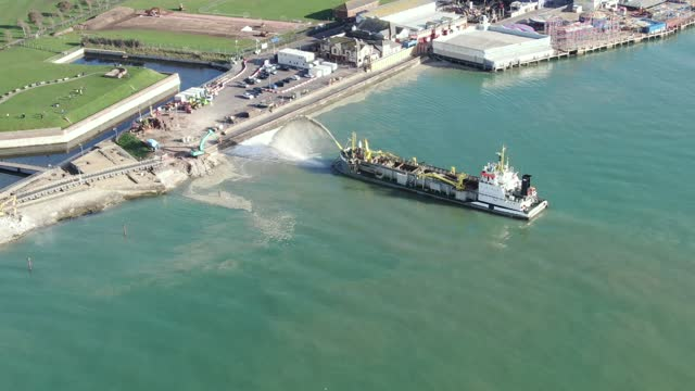 aerial view of the the sospan dau as it dredges on november 05, 2020 in portsmouth, england. dredging vessel, the sospan dau, is working to create a... - vessel part stock videos & royalty-free footage