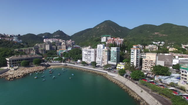 Aerial view of the tourist town of Stanley in Hong Kong It is located on a peninsula on Hong Kong Island It is east of Repulse Bay and west of Shek O...