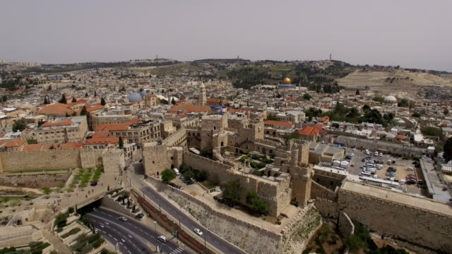 aerial view of the tower of david , old city walls, jaffa gate and temple mount - cancello video stock e b–roll