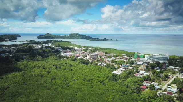 WS Aerial view of the town of Koror, Palau